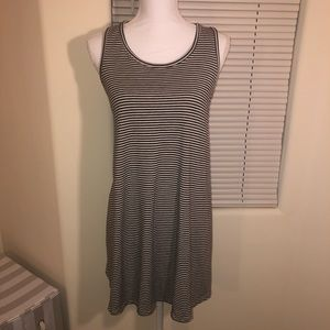 Black and White Striped Tank Top Swing Dress